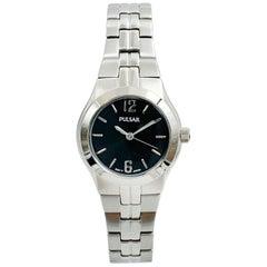 Pulsar Dress Stainless Steel Black Dial Quartz Ladies Watch PTC459