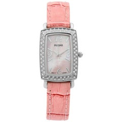 Pulsar Steel Pink Mother of Pearl Dial Quartz Ladies Watch PTC499