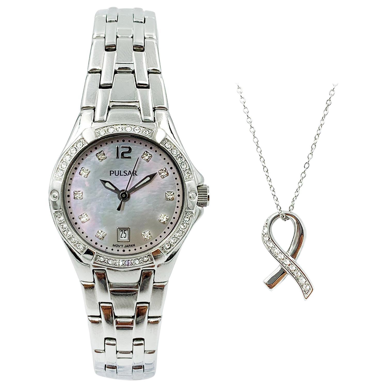 Pulsar Swarovski Crystal Steel MOP Dial Quartz Ladies Watch with Necklace PXT913