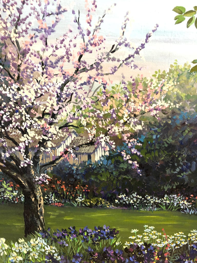 Beautifully painted by acclaimed artist John Powell in his signature lyrical realism style, Peachtree Cottage depicts a garden pulsating with life, precise, intricate and expressing the California artist's love of flowers and nature. canvas 18 x
