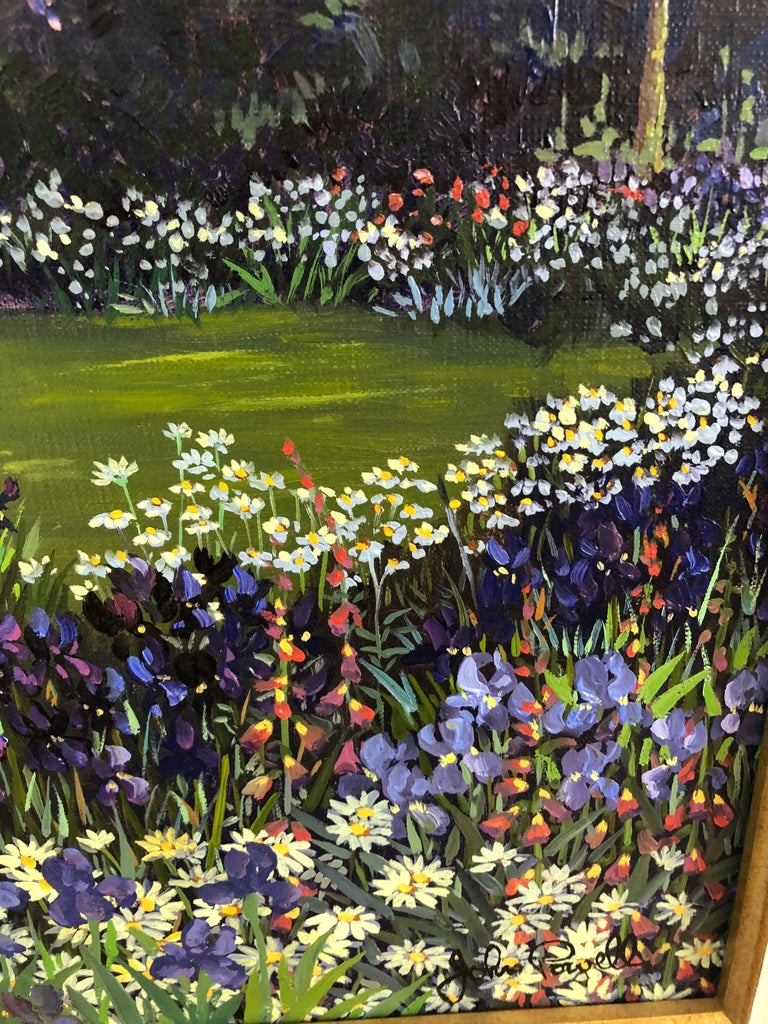 North American Pulsatingly Alive Garden Landscape Painting by John Powell For Sale