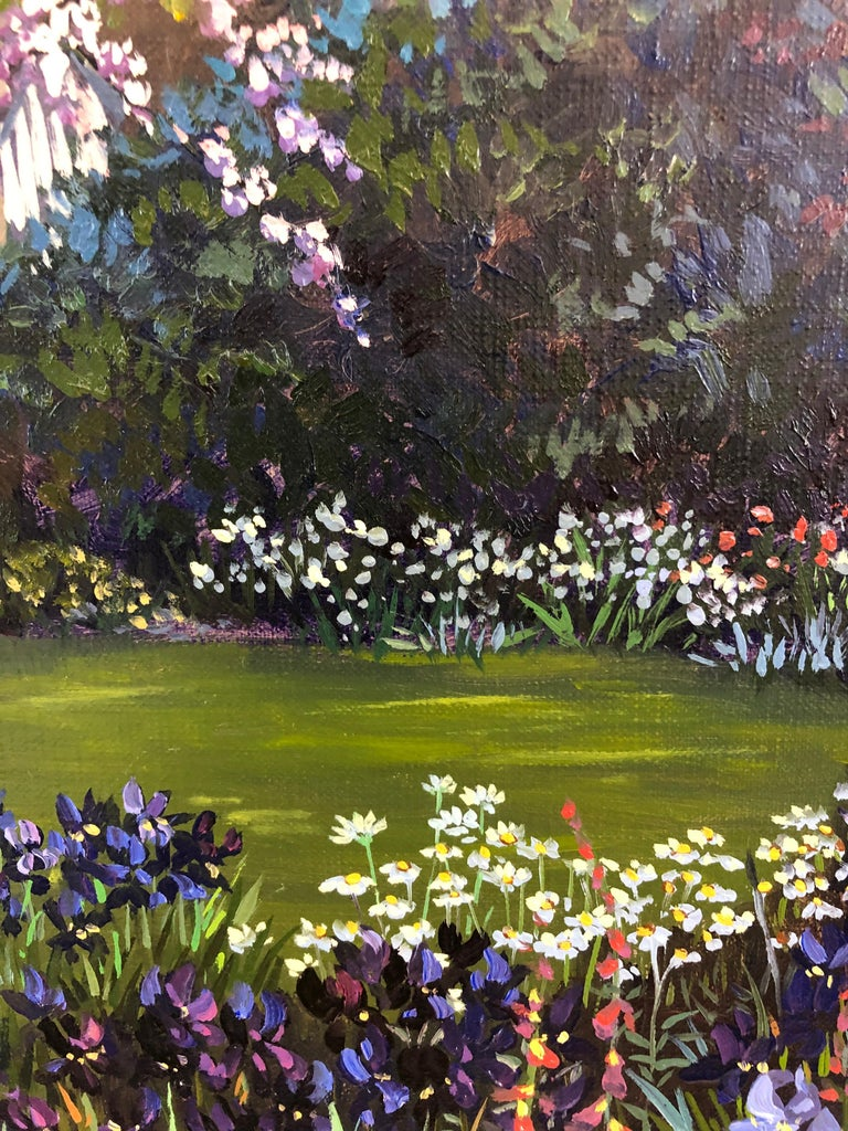 Late 20th Century Pulsatingly Alive Garden Landscape Painting by John Powell For Sale