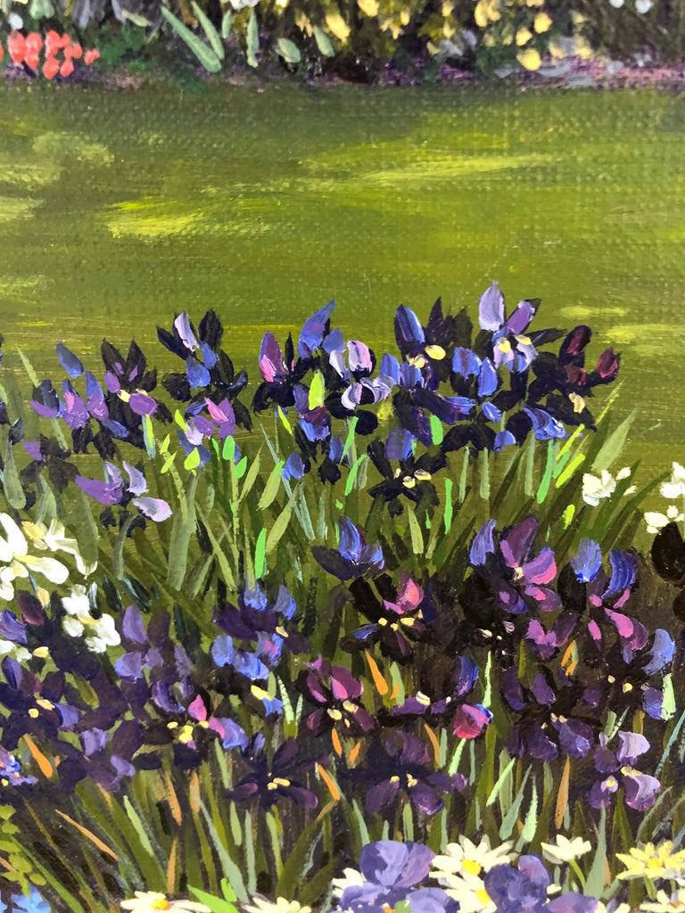 Canvas Pulsatingly Alive Garden Landscape Painting by John Powell For Sale