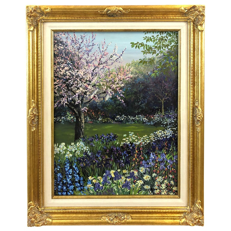 Pulsatingly Alive Garden Landscape Painting by John Powell For Sale