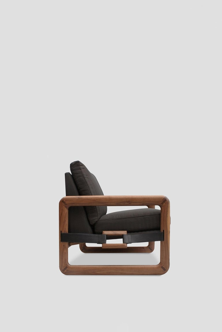 Mexican Pulse Walnut Armchair For Sale