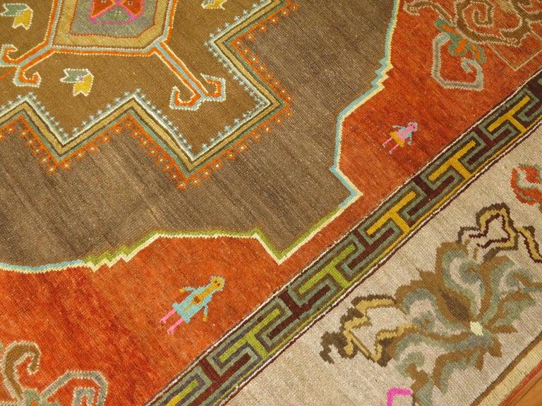 Pumpkin Color Turkish Kars Room Size Rug Dated 1931 For Sale 3