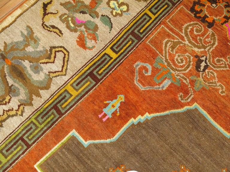 Pumpkin Color Turkish Kars Room Size Rug Dated 1931 For Sale 4