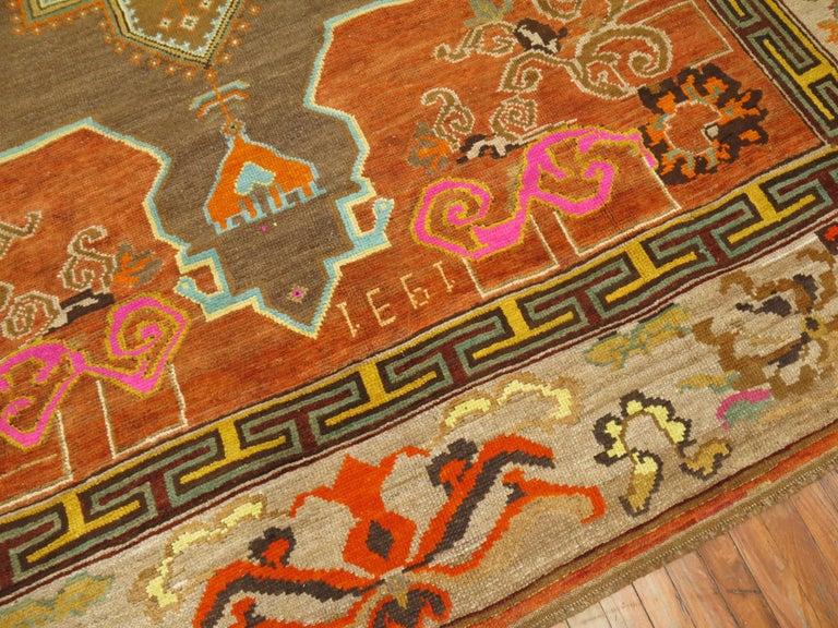 Arts and Crafts Pumpkin Color Turkish Kars Room Size Rug Dated 1931 For Sale