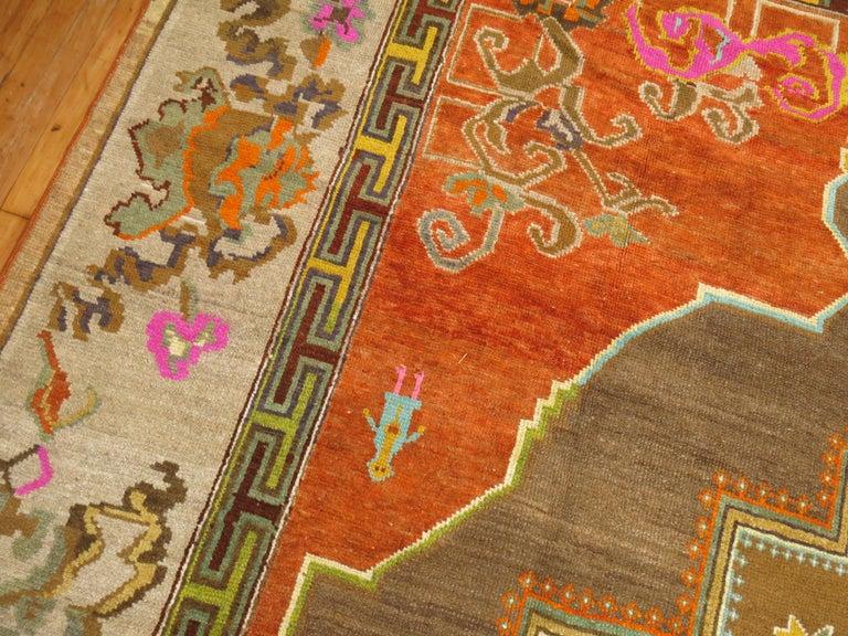 Hand-Knotted Pumpkin Color Turkish Kars Room Size Rug Dated 1931 For Sale
