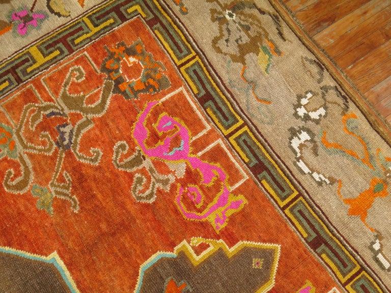Wool Pumpkin Color Turkish Kars Room Size Rug Dated 1931 For Sale