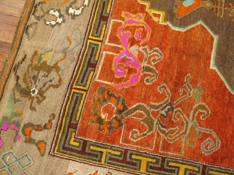 Pumpkin Color Turkish Kars Room Size Rug Dated 1931 For Sale 1