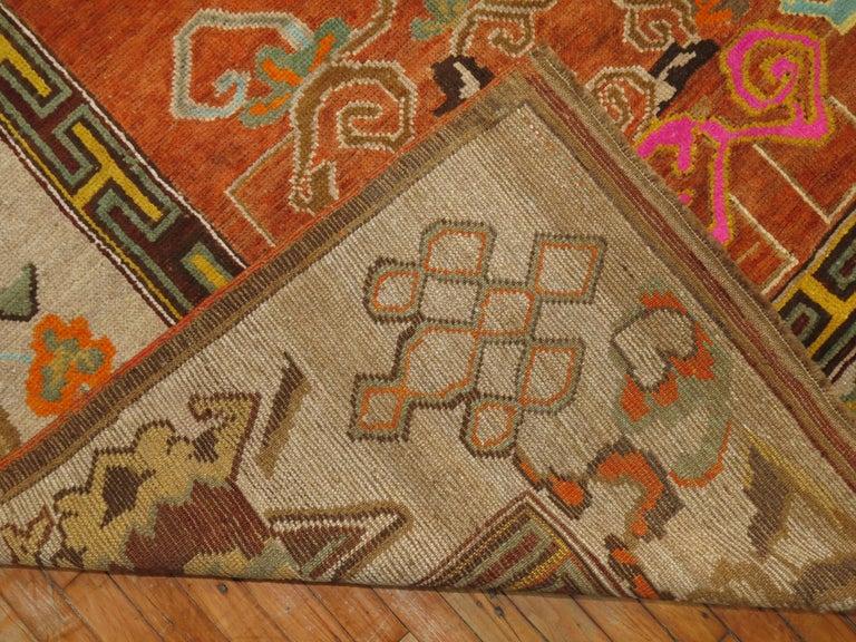 Pumpkin Color Turkish Kars Room Size Rug Dated 1931 For Sale 2