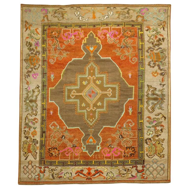Pumpkin Color Turkish Kars Room Size Rug Dated 1931 For Sale
