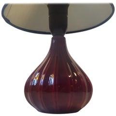 Pumpkin-Shaped Danish Modern Ceramic Table Lamp in Maroon Glaze by Eslau, 1960s