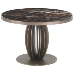Pumpkin Side Table in Metal Structure with Marble Top by Roberto Cavalli
