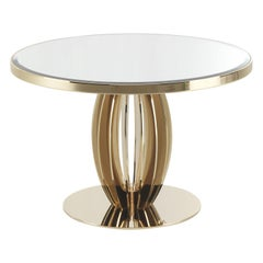 Pumpkin Side Table in Metal Structure with Natural Mirror Top by Roberto Cavalli