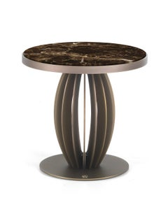 Pumpkin Side Table w/ Bronze Metal Finish Base and Marble Top by Roberto Cavalli