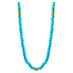 Pumpkin Turquoise Bead Necklace, 20kt Yellow Gold
