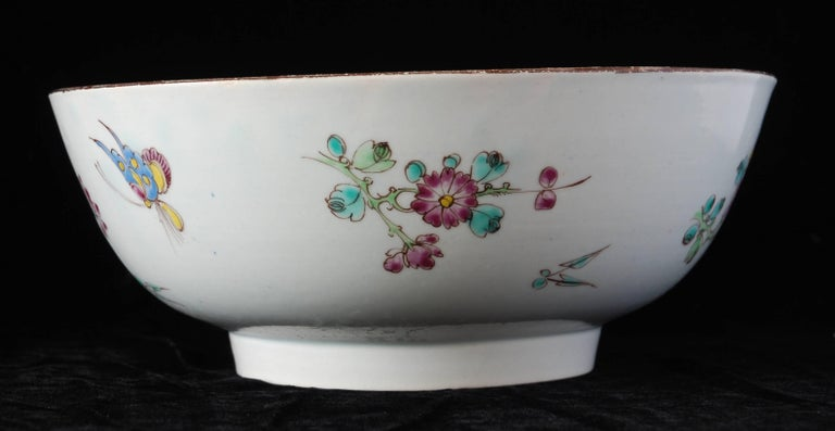 Chinoiserie Punch Powl, Bow Porcelain Factory, circa 1755 For Sale