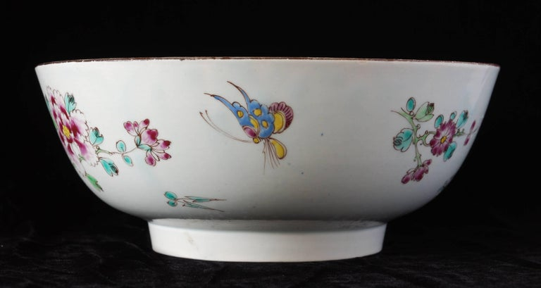 English Punch Powl, Bow Porcelain Factory, circa 1755 For Sale