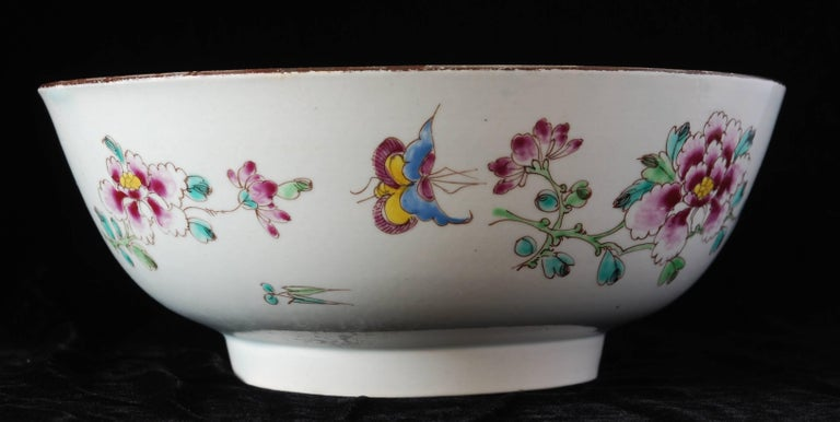 18th Century Punch Powl, Bow Porcelain Factory, circa 1755 For Sale