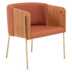 Punto Armchair Wooden Multilaminate Brown Linen And Golden Feet