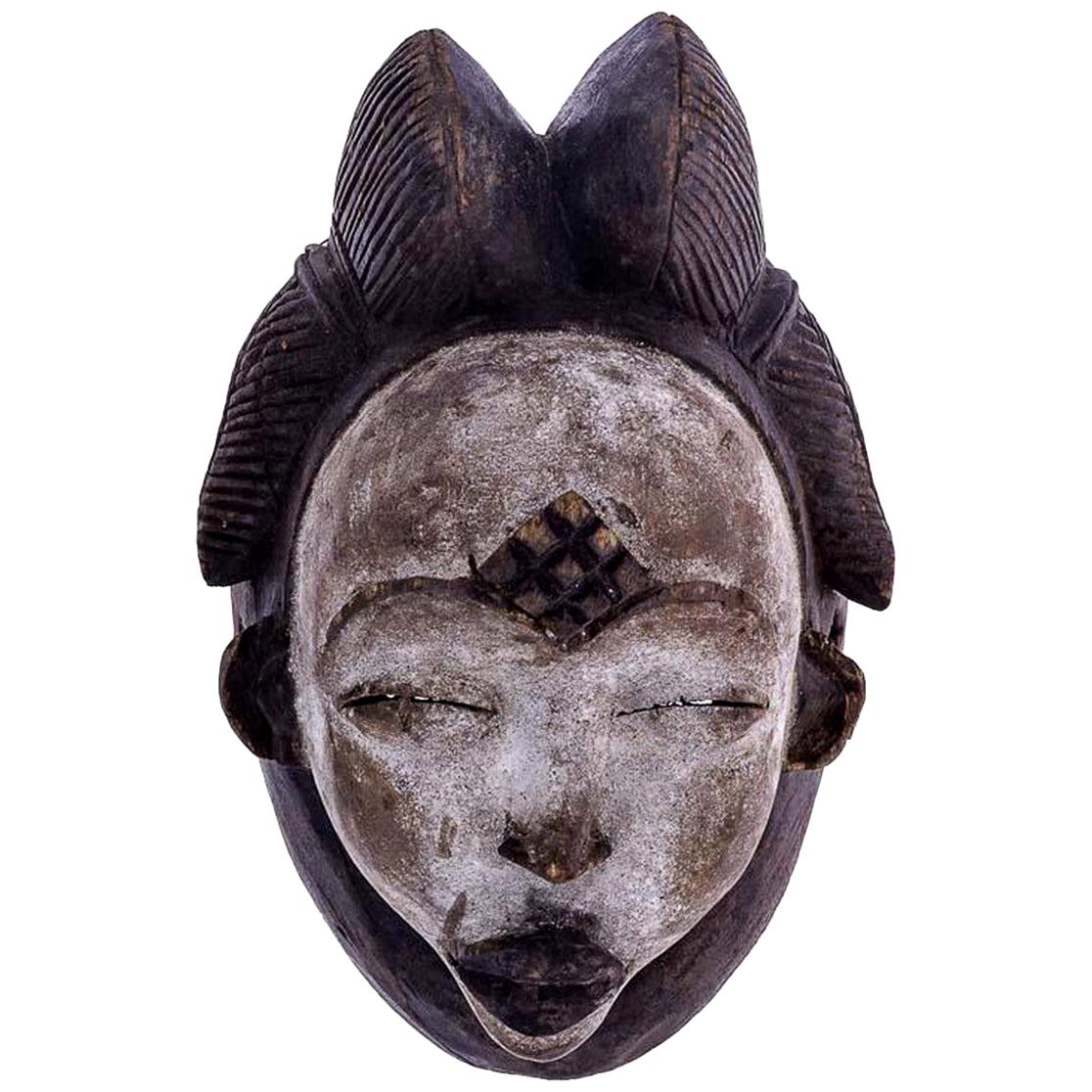 Punu African Tribal Face Mask Sculpture, Figure from Gabon, 20th Century