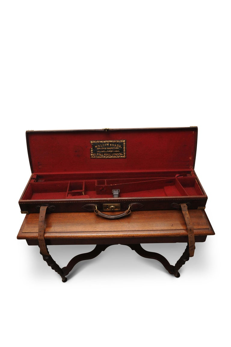 Purdey & Sons (Royal Warrant) Victorian leather and brass shotgun case, 1800s.  William Evans was an apprentice to Purdey and Sons in the 1800s, subsequently they went independent with their own company in the late 1800s.