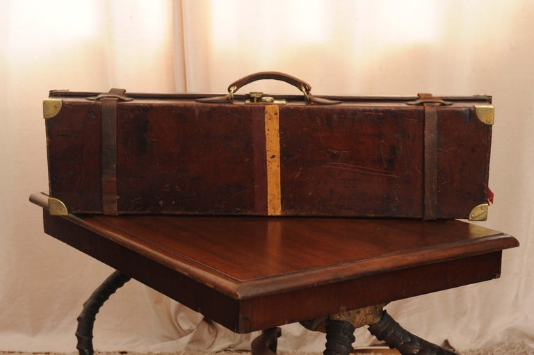 Purdey & Sons 'Royal Warrant' Victorian Leather and Brass Shotgun Case For Sale 4