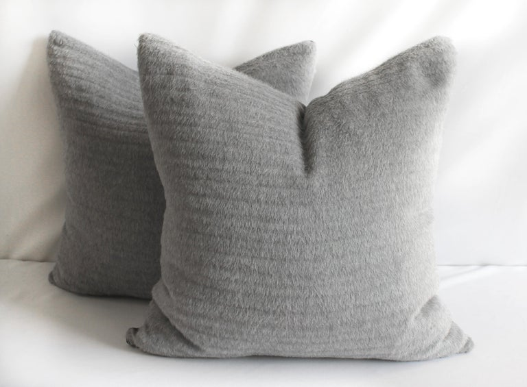 Minimalist Pure Alpaca and Linen Decorative Accent Pillows in Smoke Grey For Sale