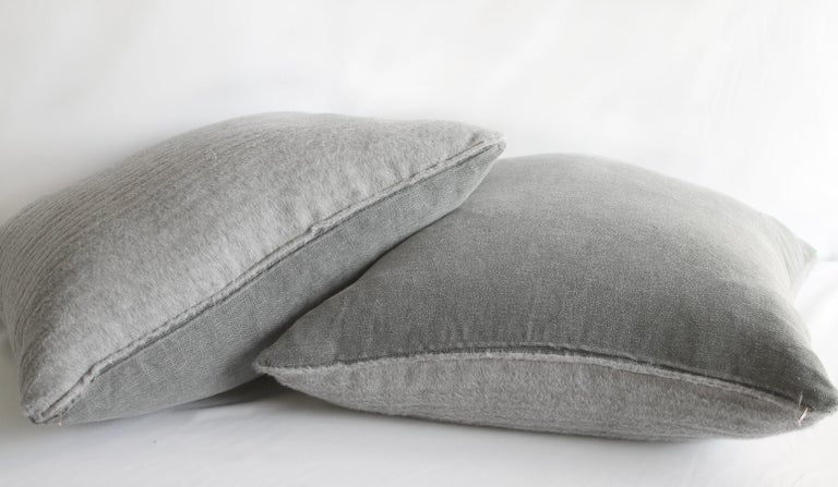 Wool Pure Alpaca and Linen Decorative Accent Pillows in Smoke Grey For Sale
