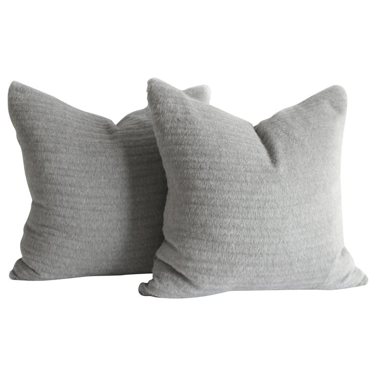 Pure Alpaca and Linen Decorative Accent Pillows in Smoke Grey For Sale