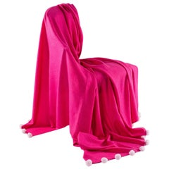 Pure Cashmere Throw with Rex Rabbit Fur Pompoms