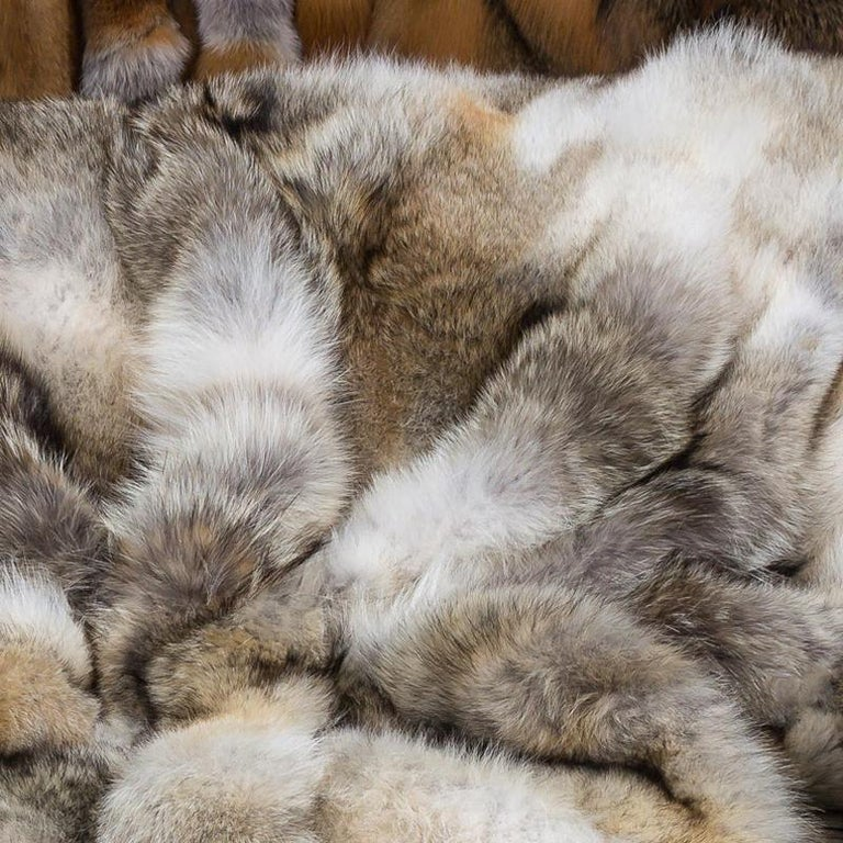 Contemporary Pure Coyote Fur Plaid with Cashemire For Sale