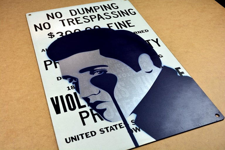 PURE EVIL: 300$ Fine - Pure Elvis Presley - Unique work on metal sign. Pop art - Street Art Mixed Media Art by Pure Evil