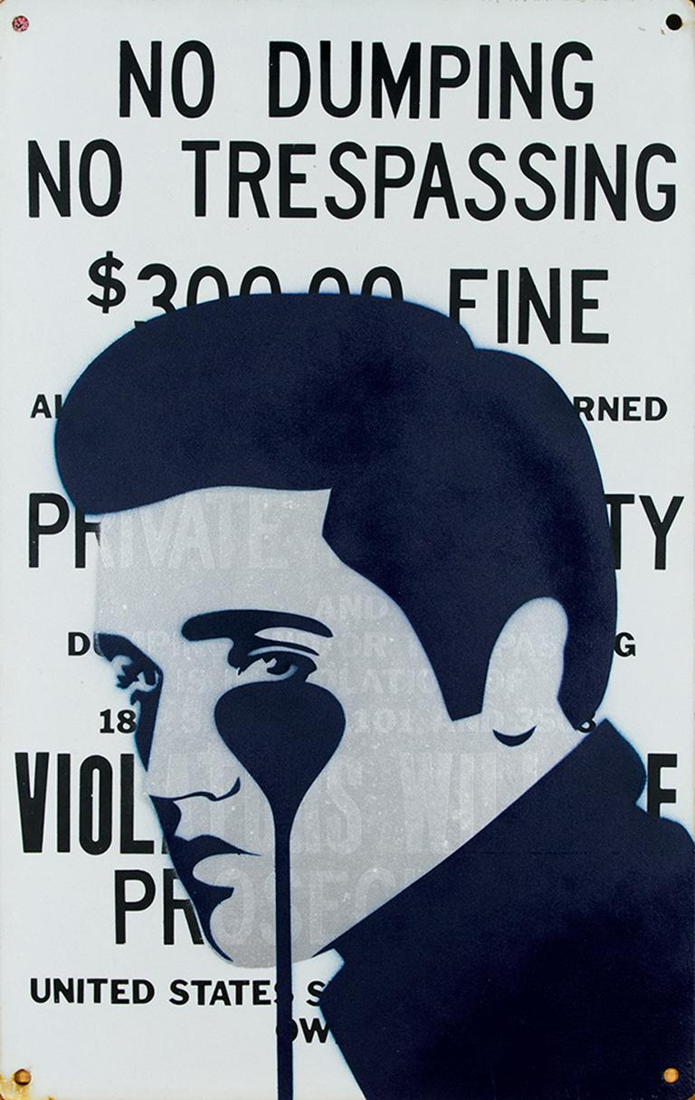 PURE EVIL: 300$ Fine - Pure Elvis Presley - Unique work on metal sign. Pop art - Mixed Media Art by Pure Evil