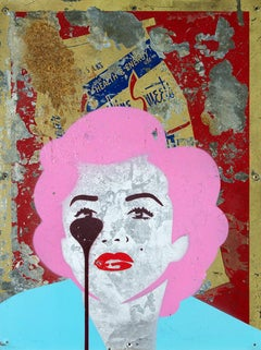 PURE EVIL: Health & Energy - Marilyn Monroe - Unique work on metal sign. Pop art