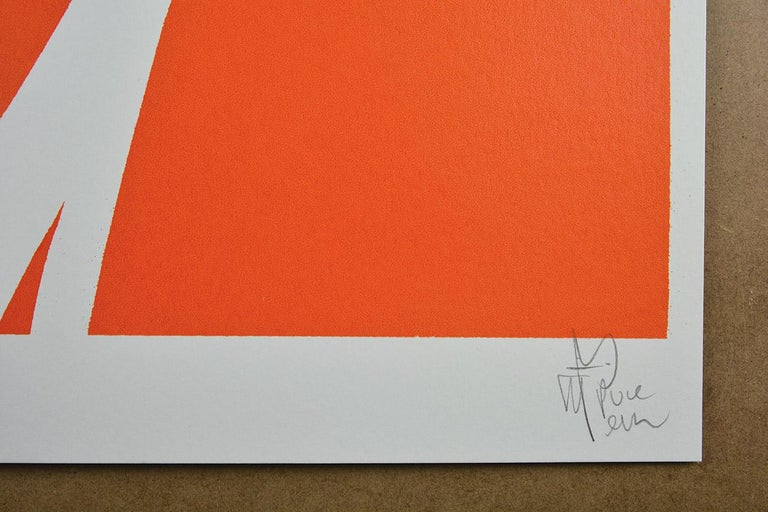 PURE EVIL: Jacques Dutronc's Nightmare - Françoise Hardy. Ed. of 40. Street art - Orange Figurative Print by Pure Evil
