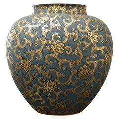 Gold Blue Porcelain Vase by Contemporary Japanese Master Artist