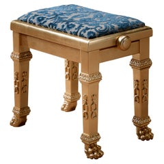 Pure Gold Piano Stool with Blue Damask by Modenese Gastone Interiors