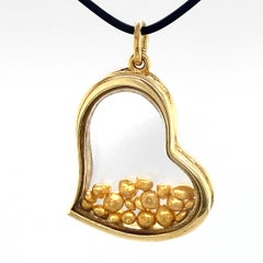 """""""Pure Love"""" 18 Karat Gold Freeform Heart Pendant with Floating 24K Nuggets"""