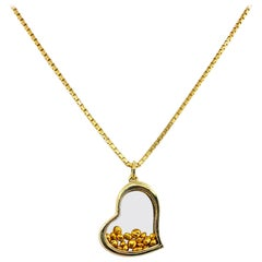 """Pure Love"" Heart Pendant with Floating 24 Karat Gold Nuggets"
