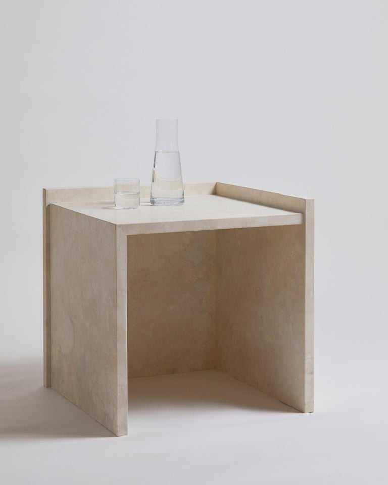 Pure Minimalist Travertine Bedside Table Set by Amee Allsop, AA112 For Sale 5