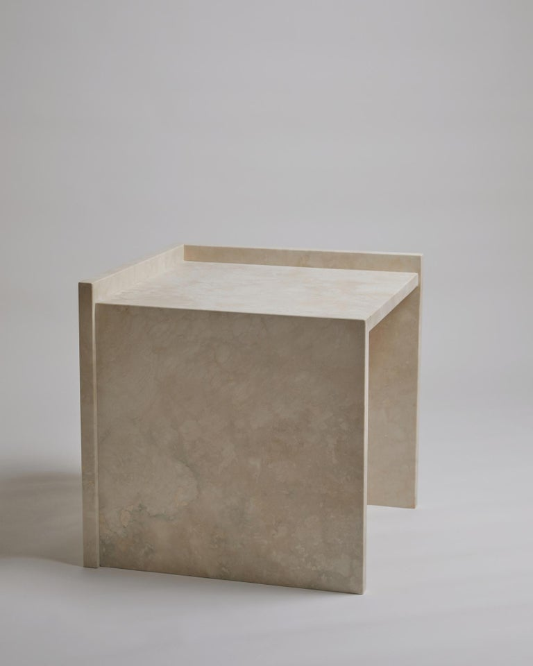 Pure Minimalist Travertine Bedside Table Set by Amee Allsop, AA112 For Sale 6