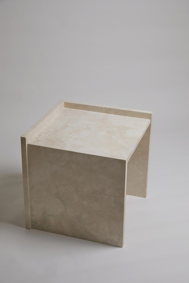 Pure Minimalist Travertine Bedside Table Set by Amee Allsop, AA112 For Sale 7