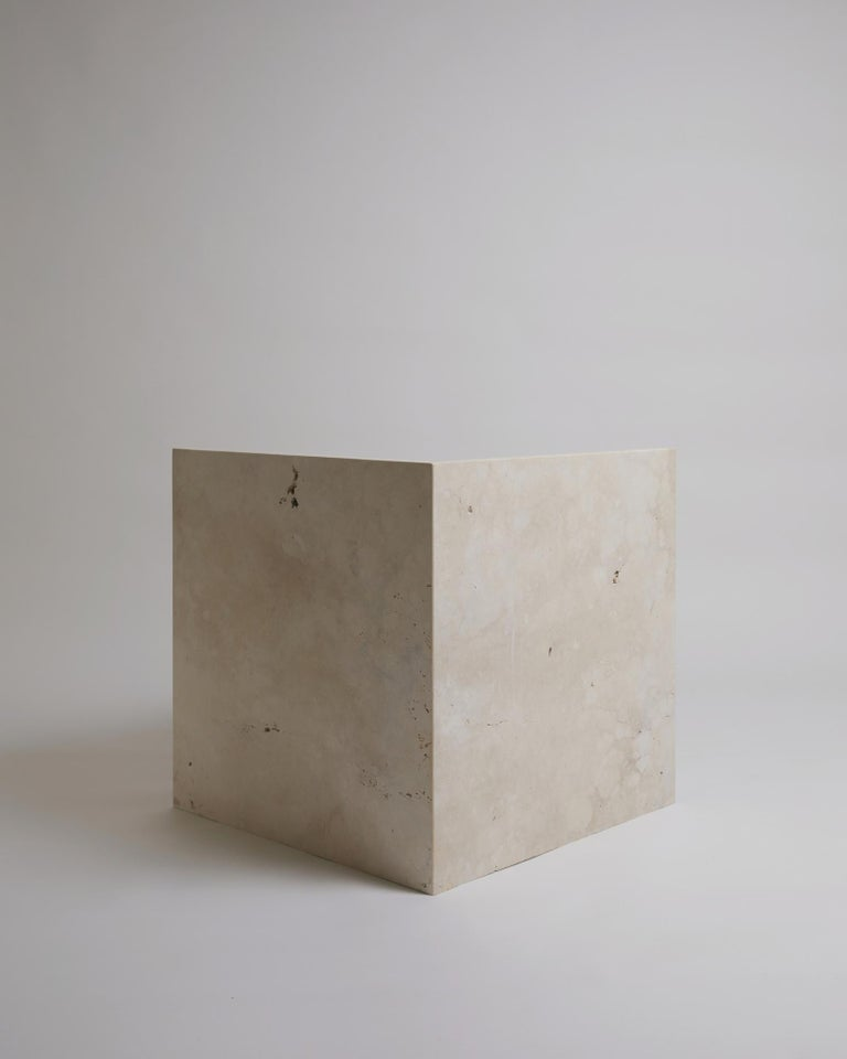 Pure Minimalist Travertine Bedside Table Set by Amee Allsop, AA112 For Sale 9