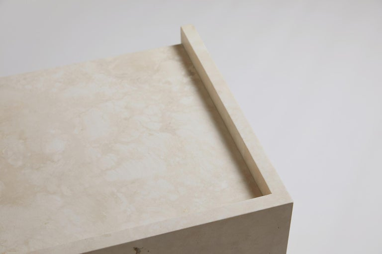 Pure Minimalist Travertine Bedside Table Set by Amee Allsop, AA112 For Sale 10