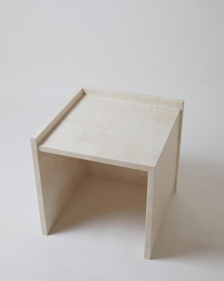 American Pure Minimalist Travertine Bedside Table Set by Amee Allsop, AA112 For Sale