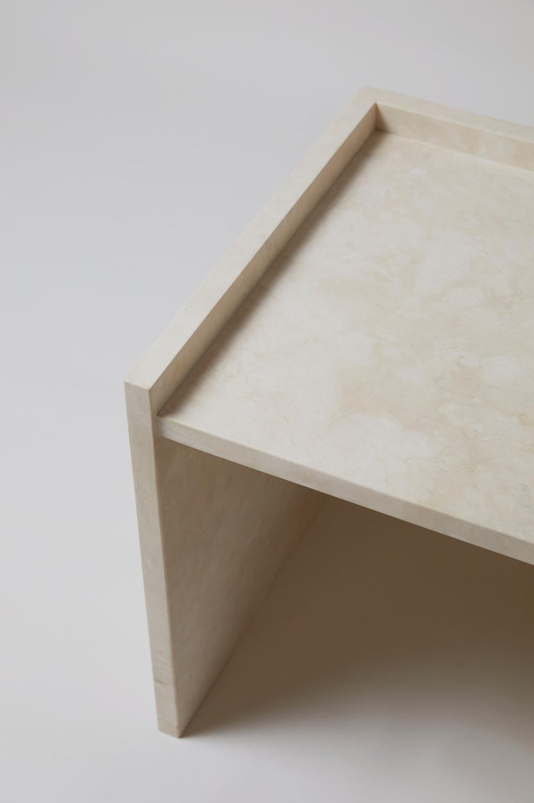 Pure Minimalist Travertine Bedside Table Set by Amee Allsop, AA112 In New Condition For Sale In East Hampton, NY