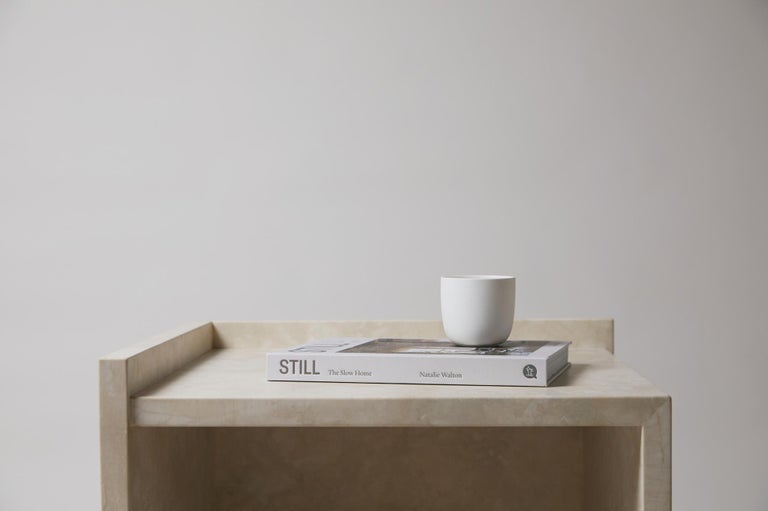 Pure Minimalist Travertine Bedside Table Set by Amee Allsop, AA112 For Sale 1